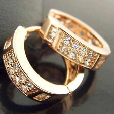 FSAN327 GENUINE REAL 18K ROSE G/F GOLD DIAMOND SIMULATED HUGGIE HOOP EARRINGS
