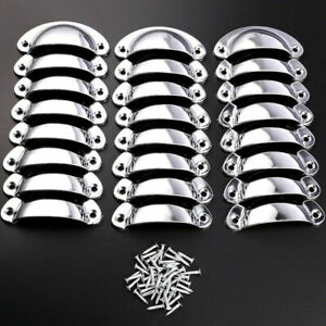 24pcs Cup Shell Drawer Cupboard Cabinet Door Furniture Antique Pull Handle