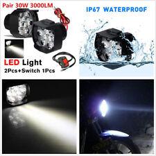 2 X DC12V 6500K White 18LED Motorcycle ATV Headlight Spotlight DRL + Switch Kit