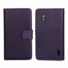 Purple Genuine Leather Card Cash Wallet Case Cover For Google LG Nexus 4 E960