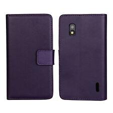 Purple Genuine Leather Card Cash Wallet Case Cover For Google LG Nexus 4 E960