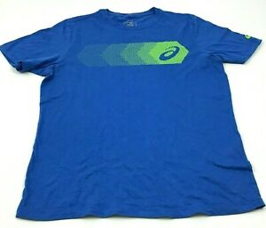 Asics Shirt Men's Size Medium M Blue Green Logo Graphic Short Sleeve Runners Tee