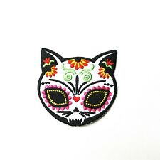 Sugar Skull Cat, Day of the Dead Embroidered Patch Iron-On/Sew On, Punk Alt