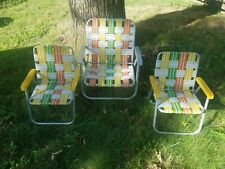 Set of 3 VTG Aluminum Webbed Folding Lawn Beach Patio Backyard Chairs