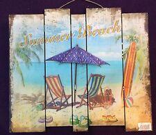 "3D Vintage Madera Pintura AUS MDF Mural ""Summer Beach "" 48x42 cm 463"