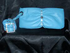 Ladies Turquoise evening bag with wrist strap -Fiorelli