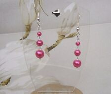 Cerise Hot Pink Glass Pearl Crystal Bicone Bead Dangle Pierced Earrings Handmade
