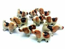 2 Pcs Animal Handmade Miniature Collectible Ceramic Dollhouse Figurine Dog
