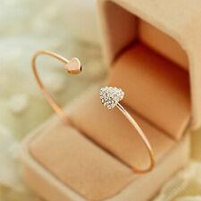 New Chic Women Lady Gold Plated Rhinestone Heart Love Bracelet Bangle Gift