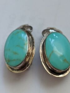 VINTAGE STERLING SILVER 925 TURQUOISE CLIP-ON EARRINGS