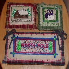 Set 3*Holiday*Glow In The Dark!*North Pole*Welcome*Let It Snow*Snowman*Pillows