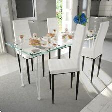 vidaXL Mesa + 4 Sillas Conjunto Comedor Cocina Sala Moderno Set Blanco Slim Line