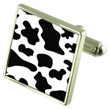 Cow Skin Print Sterling Silver Cufflinks Optional Engraved Box