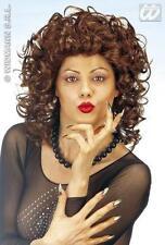 Ladies Brown Curly Wig Sexy 80'S Secretary Pop Star Dalla Fancy Dress