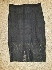 Bebe Lace Pencil Skirt Felicity Solid Black Size 8 NWT!