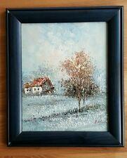 Ölbild, Winterlandschaft, Holzrahmen, signiert, im Stil des Impressionismus