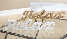 Holz Schriftzug Relax Mangoholz Hellbraun Gilde Handwerk