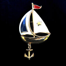 Sailboat Shaped Brooch Dangling Anchor Red White Blue Gold