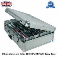 1 x Silver Aluminium DJ Flight Carry Case holds 120 CD's in Jewel Cases Strong