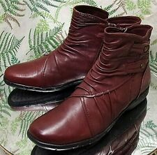 COBB HILL BURGUNDY LEATHER SLOUCH FASHION ANKLE BOOTS SHOES US WOMENS SZ 9 M