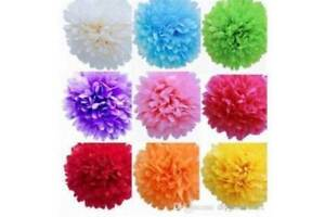 20 x Very LARGE TISSUE PAPER POM POMS MIX VARIETY COLOURS pack party decoration