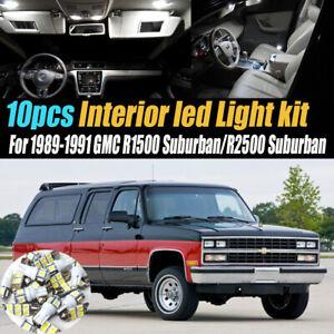 10Pc Car Interior LED White Light Bulb Kit 1989-1991 GMC R1500/R2500 Suburban
