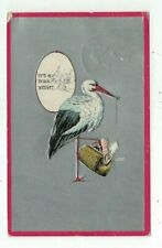 Antique Greetings Birth Announcement Post Card Stork & Baby in Valise