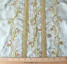 """French Antique 18thC Silk Floral Embroidered Blue Silk Table Cover~L-54""""X W-18"""""""