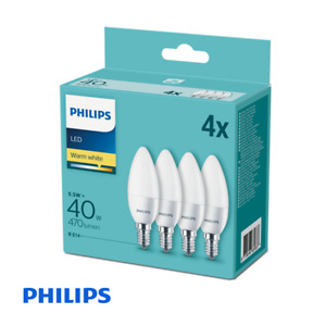 4 Pack - Philips CorePro LED Frosted Candle 5.5W (40W) E14 SES Small Edison Scre