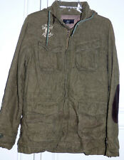 Vintage ** OBEY ** Military Style Heavy Hood Leather Elbows Jacket Coat S ~ RARE