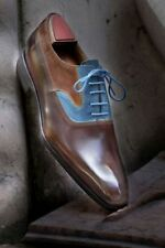 Handmade Men Derby Blue and Brown Shoes, formal Dress Leather Shoes, tuxedo shoe
