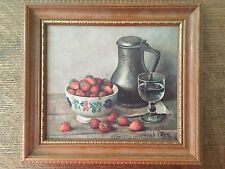 2 Vintage Hank Bog lithographs,1950, still life fruit book berries, 8x7 framed