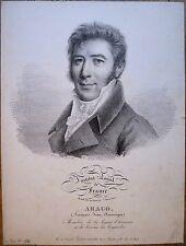 Lithographie, Portrait d'Arago, Jules Boilly, 1822