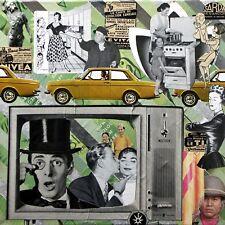 Collage rétro vintage sur chassis entoilé 40x40 cm - La femme en colère