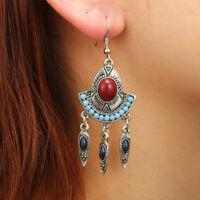 Women Vintage Bohemian Tassel Dangle Earrings Leaf Bead Charm Ear Drop Jewelry