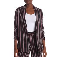 Max Studio Womens Size XS Striped Soft Notch Lapel Blazer Black Pink NEW