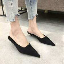 Womens Pointed Toe Stilettos Med Heels Slip On Slippers Loafers Casual Shoes