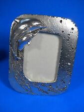 """Dolphin Frame metal 1994 UDC, Ocean Bubbles Picture 3.5"""" x 4.5"""" Wall or Table"""
