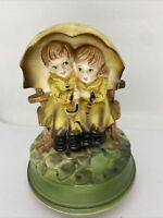 Vtg Music Box Ceramic Figurine Raindrops Keep Falling On My Head Sankyo Japan