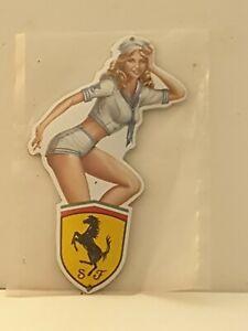 """Ferrari  Stove Enamel Sign Really Neat  8"""" X 5""""  pre holed  New. No49"""