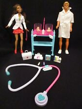 Baby Doctor Barbie and Ken with babies hospital crib stethoscope and extra's