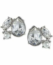 GIVENCHY Swarovski Crystal Silver Tone Pearl Cluster Post Earrings NWT $38
