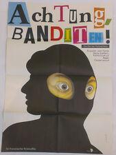 LELOUCH - JEAN YANNE - ATTENTION BANDITS! * RARE EAST GERMAN ART POSTER!