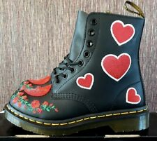 Dr Martens Womens 1460 Pascal Hearts Boots  Black Red Sequin UK 4 EU 37 Leather