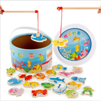 Kids Fun Wooden Magnetic Fishing Game Set Toy Children's Baby Educational Toy