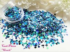 3D Nail Art Chunky *Ursula* Blue Black Hexagons Holographic Glitter Spangle Pot