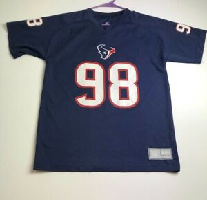 Houston Texans Football Barwin 98 Boy's Jersey Shirt XL 18 20 Blue Short Sleeves