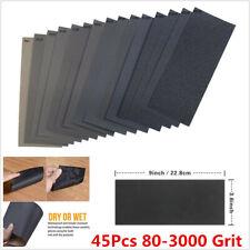 Car 45Pcs 15 Kinds Wet and Dry Sand Paper Sanding Sandpaper Mixed 80-3000 Grit