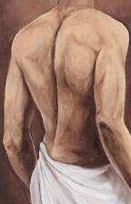 Wand Bild A. S. Liebe & Erotik Mann Malerei Ocker 69x44x1,2 cm A1UX
