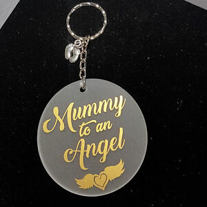 Personalised Memorial Keepsake Infant Loss, Angel Baby Mummy to an Angel Keyring